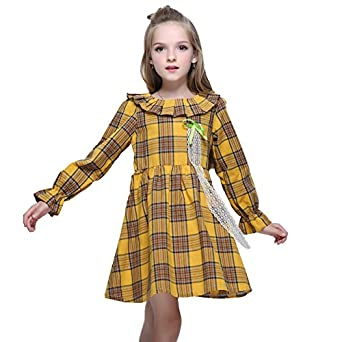 Vintage Style Children's Clothing: Girls, Boys, Baby, Toddler Kseniya Kids Big Little Girls Cotton Dresses Peter Pan Collar Plaid Petal Sleeve Bowknot Lace Girl Autumn Winter Dress $18.99 AT vintagedancer.com