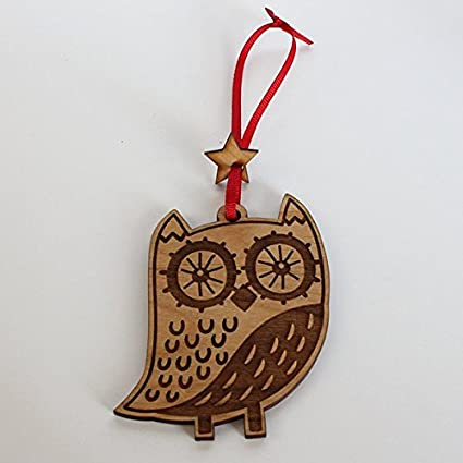 animal christmas ornament decorative hanging ornaments engraved and laser cut natural alder wood