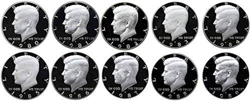 1980-1989 S Kennedy Half Dollars Gem Proof Run 10 Coins US Mint Decade Lot Complete 1980's Set -