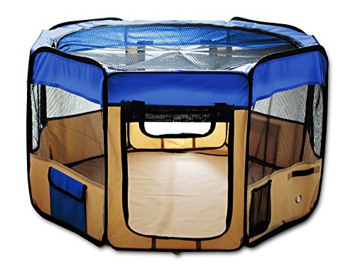 ESK COLLECTION Blue 45″ Pet Puppy Dog Playpen Exercise Pen Kennel 600d Oxford Cloth