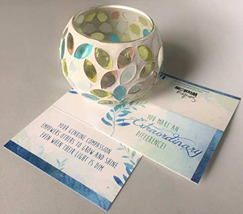Smiling Wisdom Leaf Candle Votive Holder - Appreciation Thank You Card - You Make an Extraordinary Difference - Teacher Caregiver Coacher Counselor Volunteer Recognition Gift - White Turquoise Gold