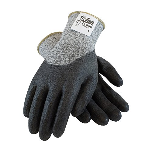 G-Tek CR Ultra 19-D655/L Seamless Knit Spun Dyneema/Nylon Glove with Polyurethane Coated Smooth Grip on Palm, Fingers and Knuckles (Dyneema Gloves Palm Coated)