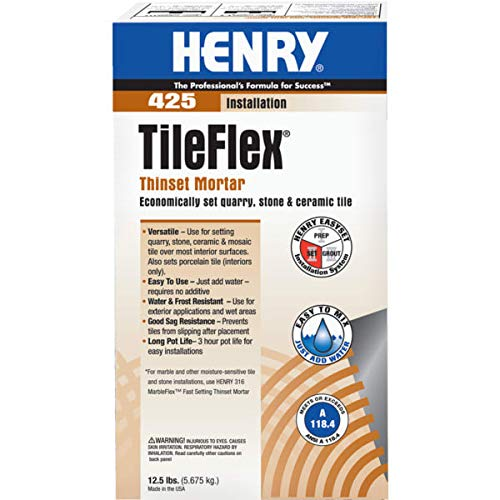 1 Pc, 12.5 Pound Tileflex Thinset Mortar 425 for Setting Quarry, Stone, Ceramic Tile (Interior & Exterior) by Henry