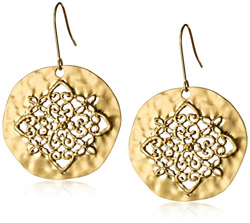 Gold-Tone Filigree Hammered Circle Earrings - Gold Tone Hammered Disc