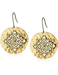 Gold-Tone Filigree Hammered Circle Earrings