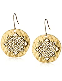 Gold-Tone Filigree Hammered Circle Earrings
