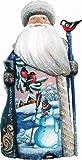 G. Debrekht Happy Snowman Santa Hand-Painted Wood Carving