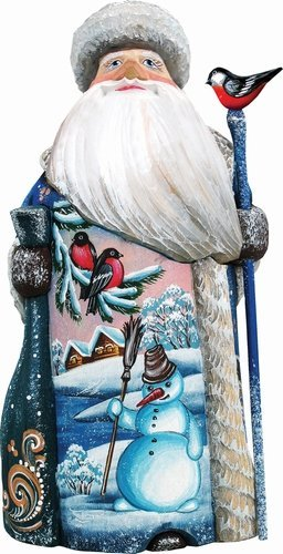 G. Debrekht Happy Snowman Santa Hand-Painted Wood Carving - Debrekht Santa
