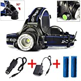 Rechargeable Headlamp Flashlight, 20000 Lumens Led, Waterproof Zoomable Adjustable Focus Headlight for Work, Camping, Hiking 3 Switch Mode Bright/Dim/SOS with 2x 18650 Battery Charger and Car Charger