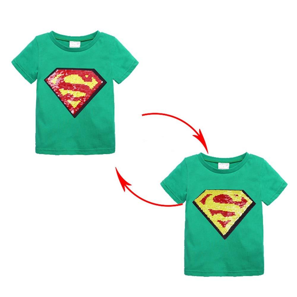 Toddler Little Kids Baby Boys Girls Magic Flip Sequins Super-Man Superhero Tshirt,Short Sleeve Crew Neck Pullover Tees Tops