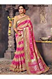 Indian Sarees For Women Designer Wedding Partywear Orange Color In Pink Cotton Silk