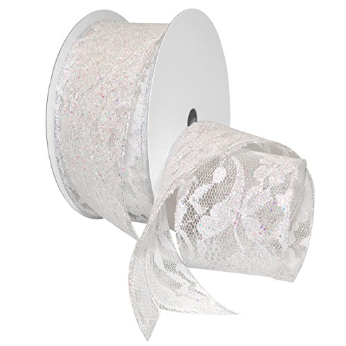 Morex Ribbon 7605.60/20-601 French Wired Polyester Sabrina Lace Ribbon, 2-1/2
