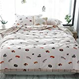 Nokolulu Bedding Cotton Sushi Print 3 Size Lightweight Summer Washable Comforter Microfiber Blanket Quilted Throw Quilt(Sushi,79''x91'')
