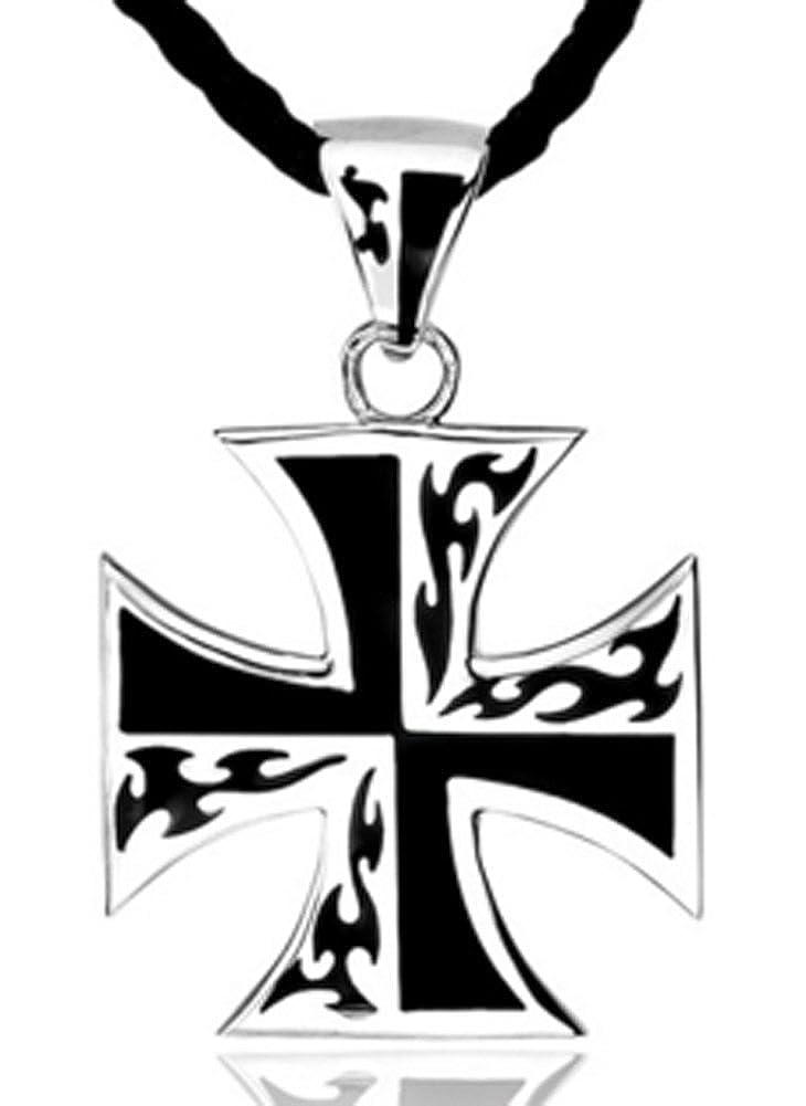 AmaranTeen 925 Pure Silver Male Pendant World War Iron Cross