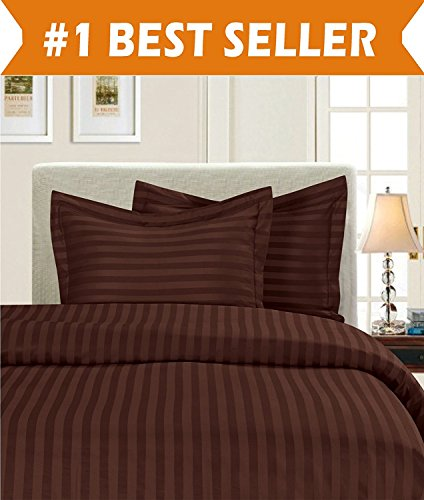 Elegant Comfort 1500 Thread Count Egyptian Quality Silky Soft Luxury 3-Piece Stripe Duvet Cover Set, King/California King, Chocolate Brown