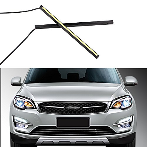 GrandviewTM 2-Piece Waterproof High Power 3W 8000K Xenon COB LED DRL Daylight Driving Daytime Running Light Bar for All Vehicles with 12V Power (White)