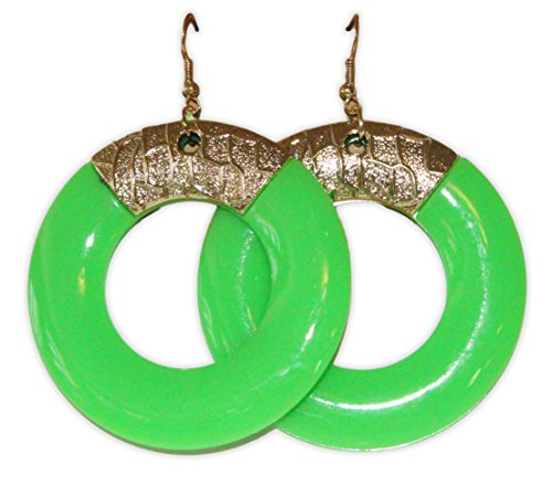 (Neon Nation Colored Round Earring w/ Gold Accents 1980s 80s Costume Party (Green))
