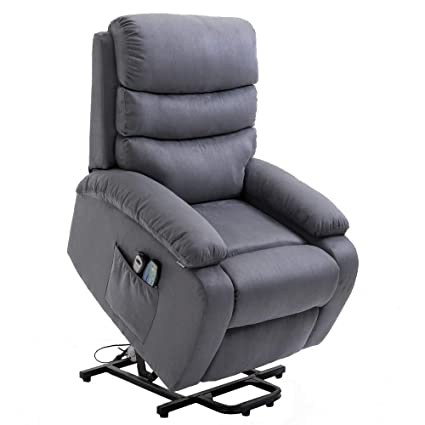 Awe Inspiring Homegear Microfiber Power Lift Electric Recliner Chair With Massage Heat And Vibration With Remote Charcoal Interior Design Ideas Inesswwsoteloinfo