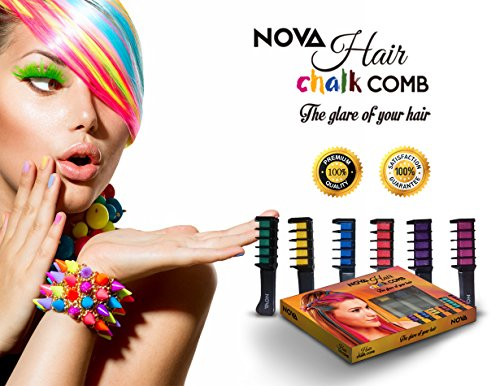 NOVA Premium Temporary Hair Color Chalk Comb-Washable NonToxic and Hair-Dye Safe for Kids Girls Children Adults Party Fans Cosplay - Perfect Gift Idea Set of 6 (White Spray Paint For Hair)