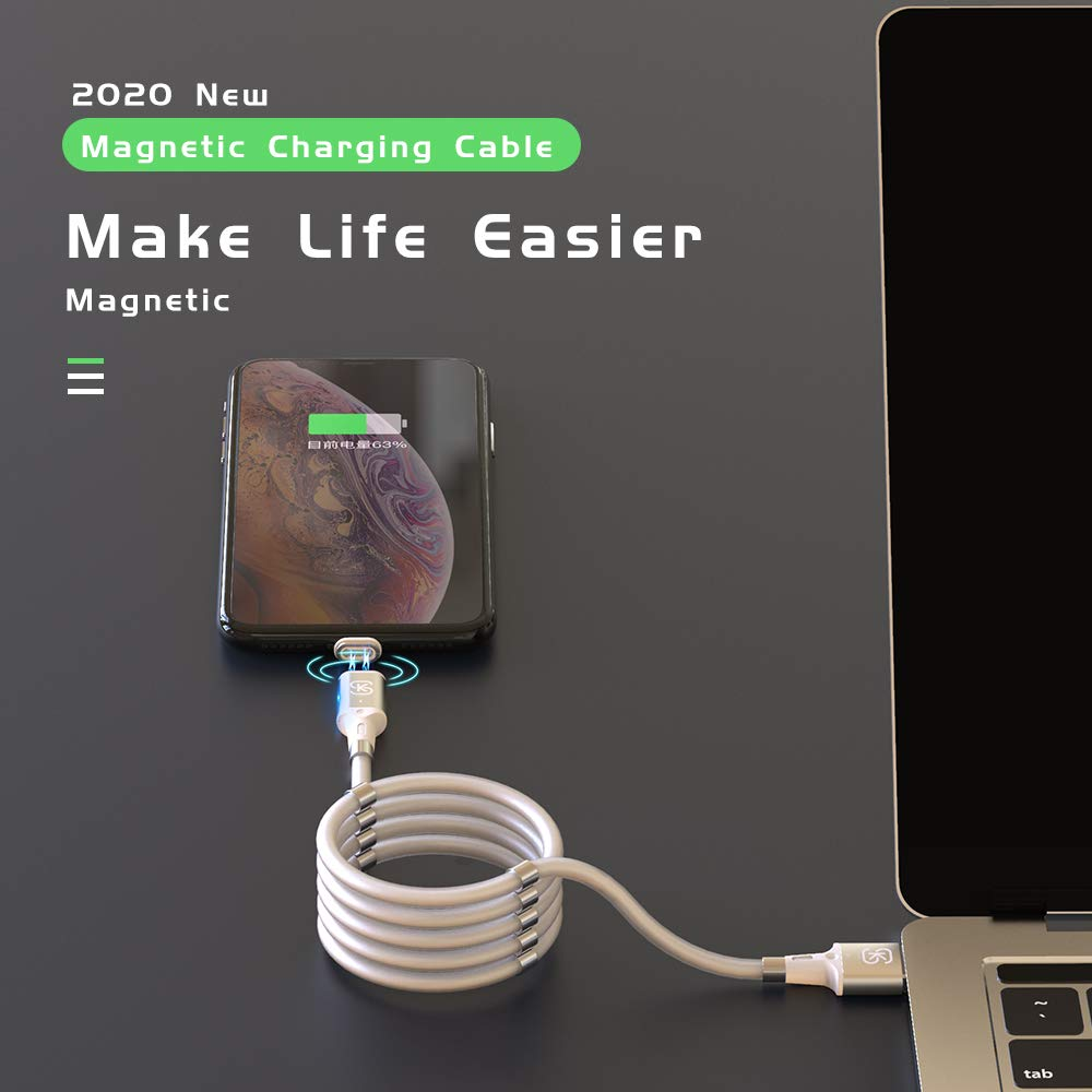 for iOS Portable SIKAI Automagic Rope Magnetic Charging Cable Automatically Retractable Storage Magnetic Cable Quick and Easy to Coil and Organize Redesigned Absorption Data Cables 0.9m