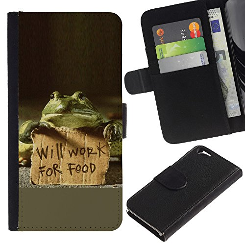 EuroCase - Apple Iphone 6 4.7 - Funny Will Work For Food Frog - Cuir PU Coverture Shell Armure Coque Coq Cas Etui Housse Case Cover