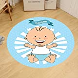 Gzhihine Custom round floor mat Baptism Decorations Baptism Sitting Sleeping Crawling Smiling Babies On Clouds Catholic Children Party Bedroom Living Room Dorm Decor