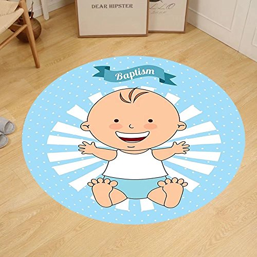 Gzhihine Custom round floor mat Baptism Decorations Baptism Sitting Sleeping Crawling Smiling Babies On Clouds Catholic Children Party Bedroom Living Room Dorm Decor by Gzhihine