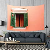 smallbeefly Country Wall Tapestry Mediterranean Style Image of Window and Shutters Old House Rural Rustic Home Decorations for Living Room Bedroom 80''x60'' Orange Green White