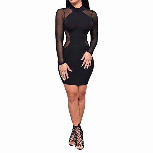 857de7897 Boomboom New Spring Long Sleeve O Neck Evening Party Mesh Dress for Women  (S