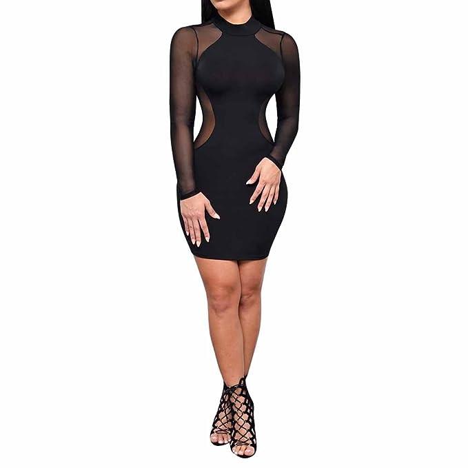 7c54e9d51b78 Kleider ,Frashing Frauen-reizvolles Clubwear-Ineinander greifen-bloßes  sehen langes Hülsen-Trikotanzug-Kleid Kleider langarm Bodycon Abendkleider  ...