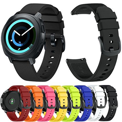 For Samsung Gear Sport Band Small, Soft Silicone Twill Accessories Straps Replacement Watch Band Wristbands for Samsung Gear Sport Women Men (8 Pack)