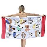 chezmax 100% diseño de dibujos animados de algodón toalla de playa para niños Protector solar piscina, Sauna gimnasio toalla de baño manta, Dogs With Glasses
