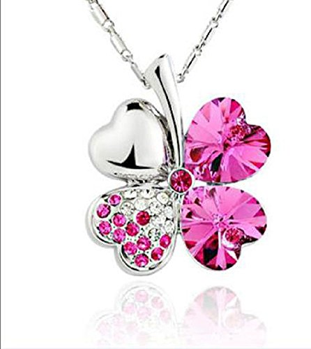 Sweet Fashion Crystal Rhinestone Peach Heart Four Leaf Clover Pendant Necklace Rose Red