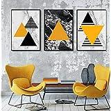 Kit de três quadros abstrato amarelo para quarto ou sala com moldura preta e vidro.
