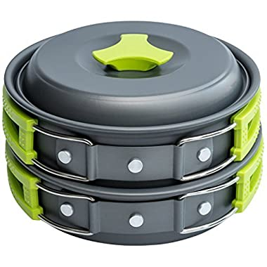 MalloMe Camping Cookware Mess Kit Backpacking Gear & Hiking Outdoors Bug Out Bag Cooking Equipment Cookset   Lightweight, Compact, Durable Pot Pan Bowls - Free Folding Spork, Nylon Bag, Ebook