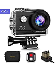 Apexcam 4K Action cam 16MP WiFi Sports Kamera Ultra HD Unterwasserkamera 40m 170 ° Weitwinkel 2.4G Fernbedienung Zeitraffer 2x1050mAh Akkus 2.0-inch LCD Bildschirm und andere