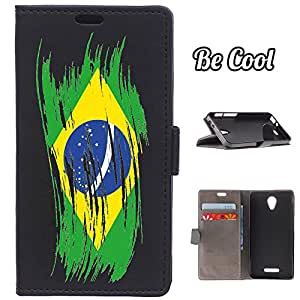 BeCool® - Funda carcasa tipo Libro para Alcatel Pop 4 protege tu Smartphone ya que se adapta a la perfección, tiene Función Soporte, ranuras para tus tarjetas y billetes sin olvidar nuestro exclusivo diseño Bandera pintada Brasil