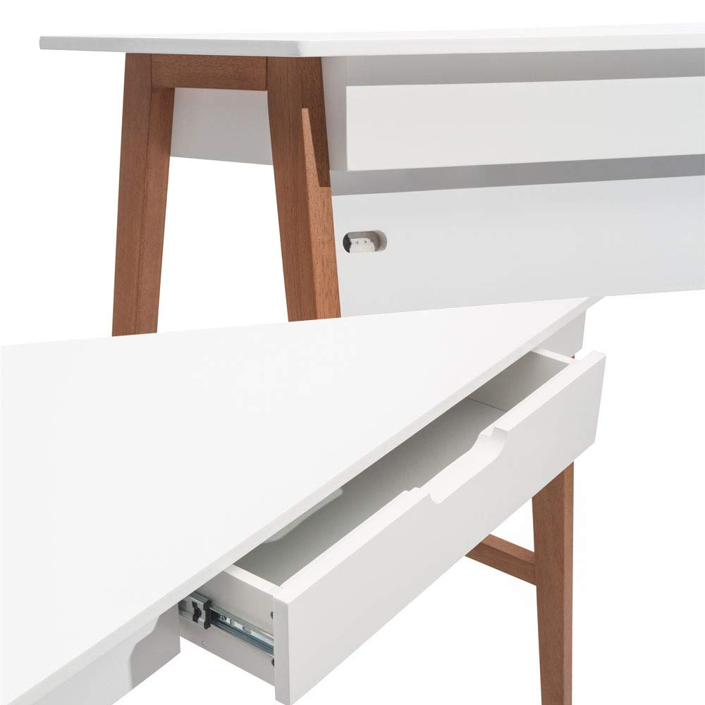 Nathan James 51101 Telos Home Office Computer Desk with Drawer, 42'', White/Brown by Nathan James (Image #10)