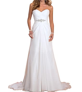 Womens Chiffon Wedding Dress Vintage Boho Bridal Gown (16)