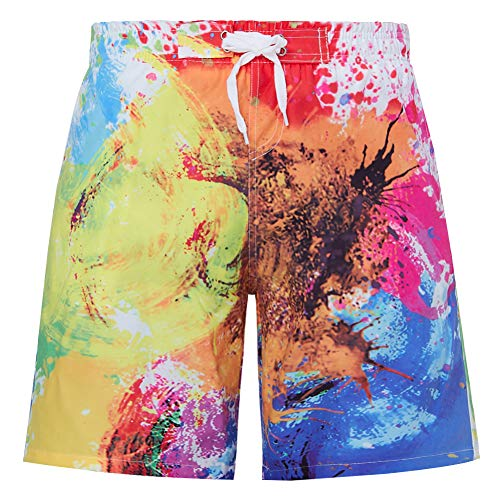 uideazone Boys 3D Print Colorful Splash Shorts Summer Casual Beach Surfing Board Shorts Swimming Trunks