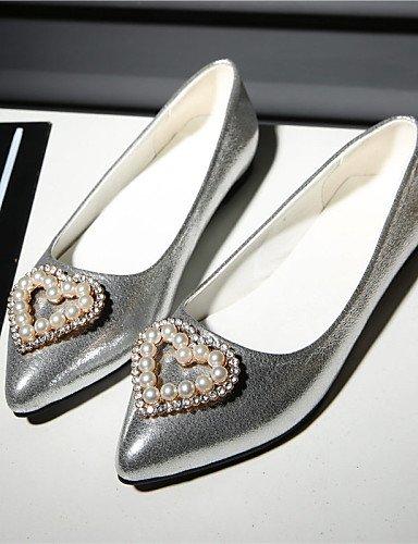 Toe Oro mujer piel libre sintética zapatos PDX eu42 aire Plata plano golden us10 de carrera punta al 5 talón de cn43 uk8 Pisos y oficina 5 casual qwHIqtnz