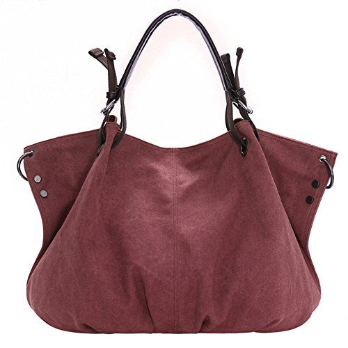 lqt Mujer Modern nostalgiche Mode Canvas grande hombro bolso bolso tornister bolsillos morado oscuro