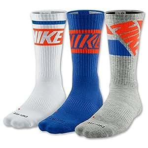 Nike Dri-Fit Cotton Cushioned Crew Socks 3 Pack (Large 8-12, Royal Blue/White/Grey)