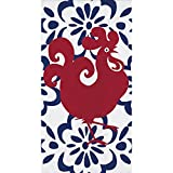 Pack of 192 Red Wine and Navy Blue Floral Amigo 3-Ply Guest Towels 8""