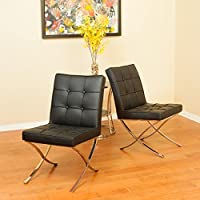Pandora Dining Furniture ~ Modern Corrected Grain Leather Dining Chairs (Black) (set of 2)