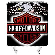 "Decoraport Fashionable Bathroom Waterproof Shower Curtain, 70"" W x 72"" H, Power Pattern (009 Harley Davidson Motor)"