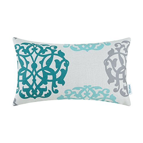 CaliTime Canvas Bolster Pillow Cover Case for Couch Sofa Home Decoration Three-Tone Floral Compass Geometric 12 X 20 inches Teal/Duck Egg/Gray - Luxury Damask Pillow Sham