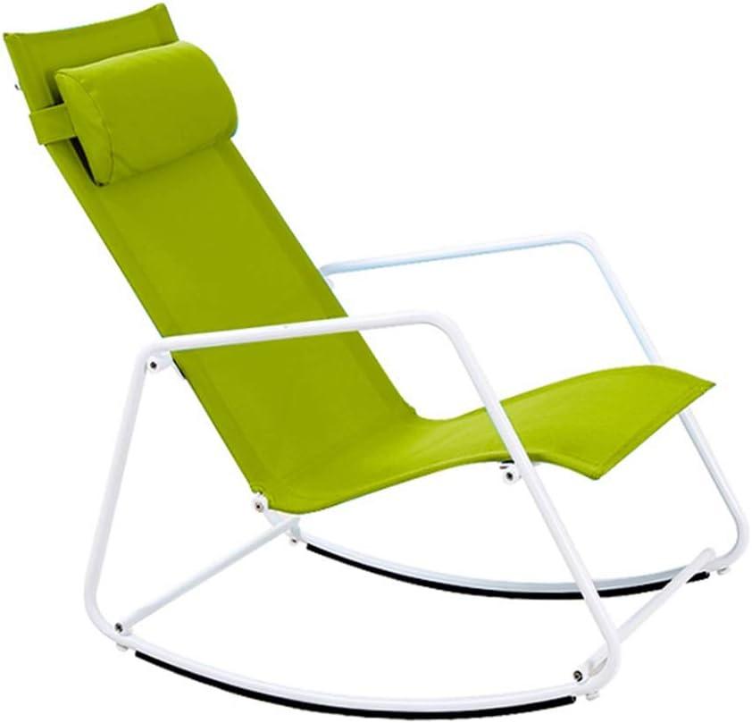 DANDAN-Tumbona interior Plegable Reclinable Estilo Nórdico Simple Aleación De Aluminio Mecedora para Adultos Silla para El Sol Mujer Embarazada Silla Perezosa (Color : Green)
