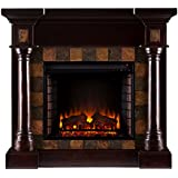Southern Enterprises AMZ8478FE Chancellor Faux Slate Convertible Electric Fireplace, Espresso