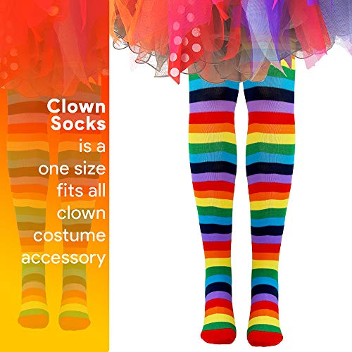Skeleteen Colorful Rainbow Striped Socks - Over The Knee Clown Striped Costume Accessories Thigh Hig - http://coolthings.us